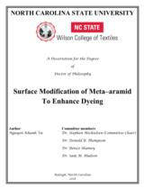 Surface modification of meta-aramid to enhance dyeing