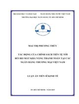 Tác động của chính sách tiền tệ tới rủi ro mất khả năng thanh toán tại các Ngân hàng Thương mại Việt Nam