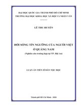 Đời sống tín ngưỡng của người Việt ở Quảng Nam (nghiên cứu trường hợp ở Hội An) / Lê Thu Huyền ; Người hướng dẫn khoa học : Ngô Văn Lệ, Trương Thị Thu Hằng