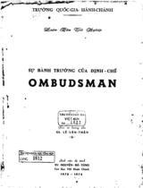 Sự bành trướng của định chế Ombudsman : luận văn tốt nghiệp / Nguyễn Bá Tùng ; Giáo sư hướng dẫn : Lê Văn Thận