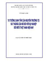 Tư tưởng canh tân của Nguyễn Trường Tộ và ý nghĩa của nó đối với sự nghiệp đổi mới ở Việt Nam hiện nay / Vũ Ngọc Lanh ; Người hướng dẫn khoa học Nguyễn Xuân Tế, Hà Thiên Sơn