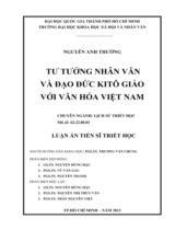 Tư tưởng nhân văn và đạo đức Kitô giáo với văn hóa Việt Nam / Nguyễn Anh Thường ; Người hướng dẫn khoa học : Trương Văn Chung