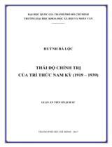 Thái độ chính trị của trí thức Nam Kỳ (1919 - 1939)