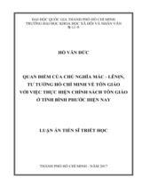 Quan điểm của chủ nghĩa Mác - Lênin, tư tưởng Hồ Chí Minh về tôn giáo với việc thực hiện chính sách tôn giáo ở tỉnh Bình Phước hiện nay