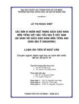Các đơn vị ngôn ngữ trong sách giáo khoa môn tiếng Việt bậc tiểu học ở Việt Nam (so sánh với sách giáo khoa môn tiếng Anh cùng bậc ở Singapore)