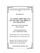 Tư tưởng triết học của Nguyễn Trãi - Đặc điểm và giá trị lịch sử / Bùi Trọng Bắc ; Người hường dẫn khoa học : Trịnh Doãn Chính