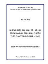 Những biến đổi kinh tế - xã hội trên địa bàn tỉnh Bình Phước thời Pháp thuộc (1862 - 1945) / Bùi Thị Huệ ; Người hướng dẫn khoa học : Nguyễn Phan Quang, Ngô Minh Oanh