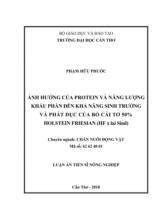 Ảnh hưởng của protein và năng lượng khẩu phần đến khả năng sinh trưởng và phát dục của bò cái tơ 50% Holstein Friesian (HF x lai Sind) / Phạm Hữu Phước ; Người hướng dẫn khoa học : Lưu Hữu Mãnh, Võ Ái Quấc