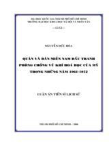 Quân và dân miền Nam đấu tranh phòng chống vũ khí hóa học của Mỹ trong những năm 1961-1972 / Nguyễn Đức Hòa ; Người hướng dẫn khoa học : Hồ Sơn Đài, Ngô Minh Oanh