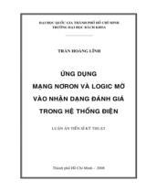 Ứng dụng mạng Nơron và Logic mờ vào nhận dạng đánh giá trong hệ thống điện / Trần Hoàng Lĩnh ; Người hướng dẫn khoa học : Nguyễn Thúc Loan, Nguyễn Bội Khuê