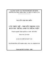 Cấu trúc đề - thuyết trong văn bản tin tiếng Anh và tiếng Việt / Nguyễn Thị Thu Hiền ; Người hướng dẫn khoa học : Trịnh Sâm