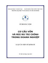 Cơ cấu vốn và rủi ro tài chính trong doanh nghiệp / Lê Hoàng Vinh ; Người hướng dẫn khoa học : Lê Thị Thanh Hà, Trần Thị Kỳ