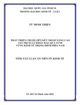 Phát triển chuỗi liên kết nhằm nâng cao giá trị xuất khẩu rau quả tươi vùng kinh tế trong điểm phía Nam / Từ Minh Thiện ; Người hướng dẫn khoa học : Hồ Đức Hùng, Trần Văn Đức